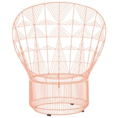 Modern Peacock Lounge Chair, Lounge Chair by Bend Goods in Peachy Pink