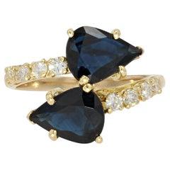 Modern Pear-Cut Sapphire Diamonds 18 Karat Yellow Gold You and Me Ring