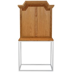 Modern Pediment Cabinet in Scrubbed Oak on Metal by Martin and Brockett, Brown