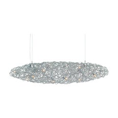 Modern Pendant Cigar in an Oval Shape and Nickel Finish, Crystal Waters