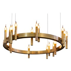Modern Pendant in a Brass Burnished Finish, Shiro Collection, by Brand Van