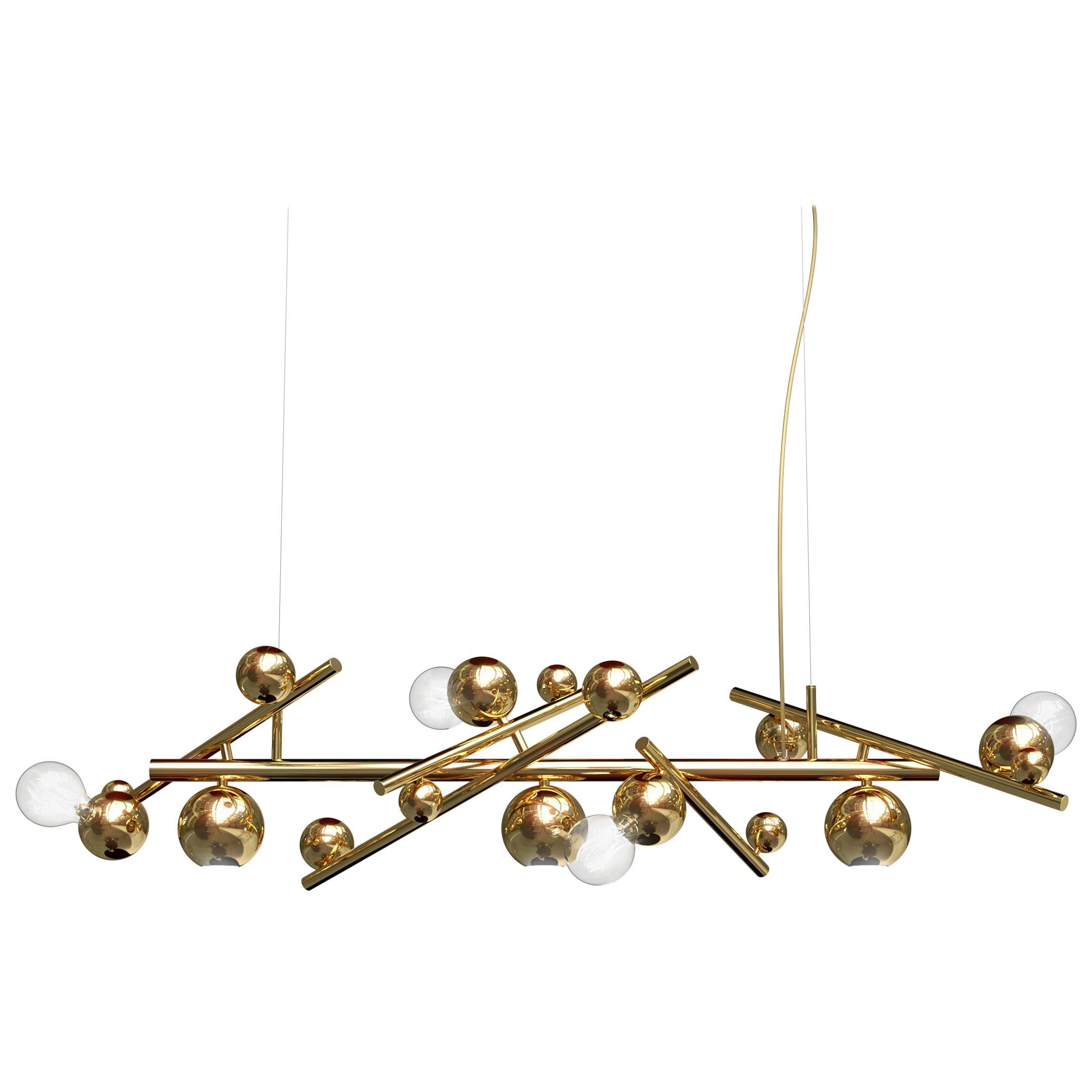 Modern Pendant in a Brass Finish, Galaxy Collection, by Brand Van Egmond