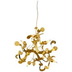 Modern Pendant in a Brass Finish, Kelp Collection, by Brand van Egmond