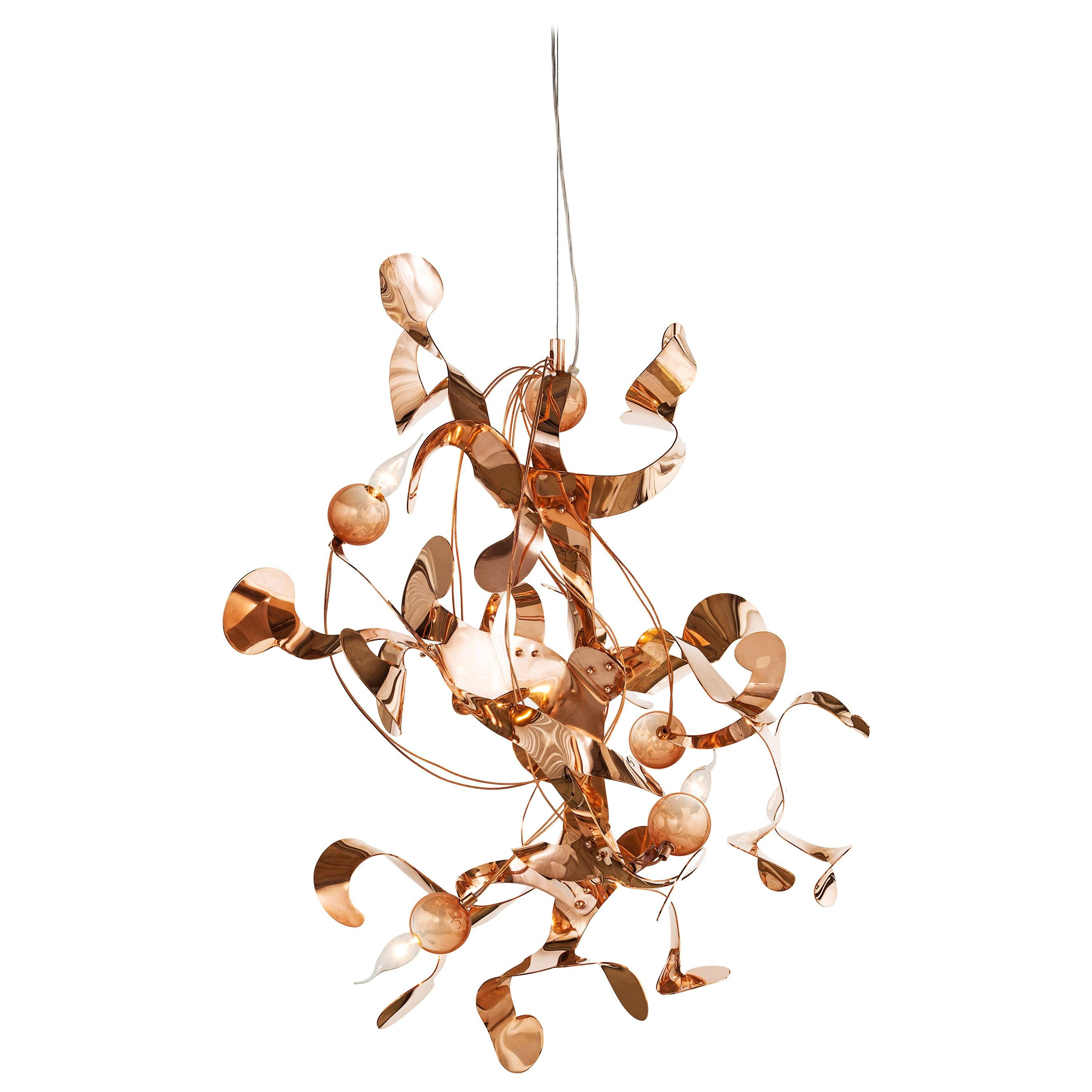 Modern Pendant in a Copper Finish, Kelp Collection, by Brand van Egmond