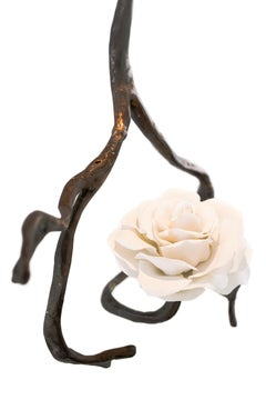 Modern Pendant in Casted Bronze with a Porcelain Rose of Nymphenburg, Orpheus C