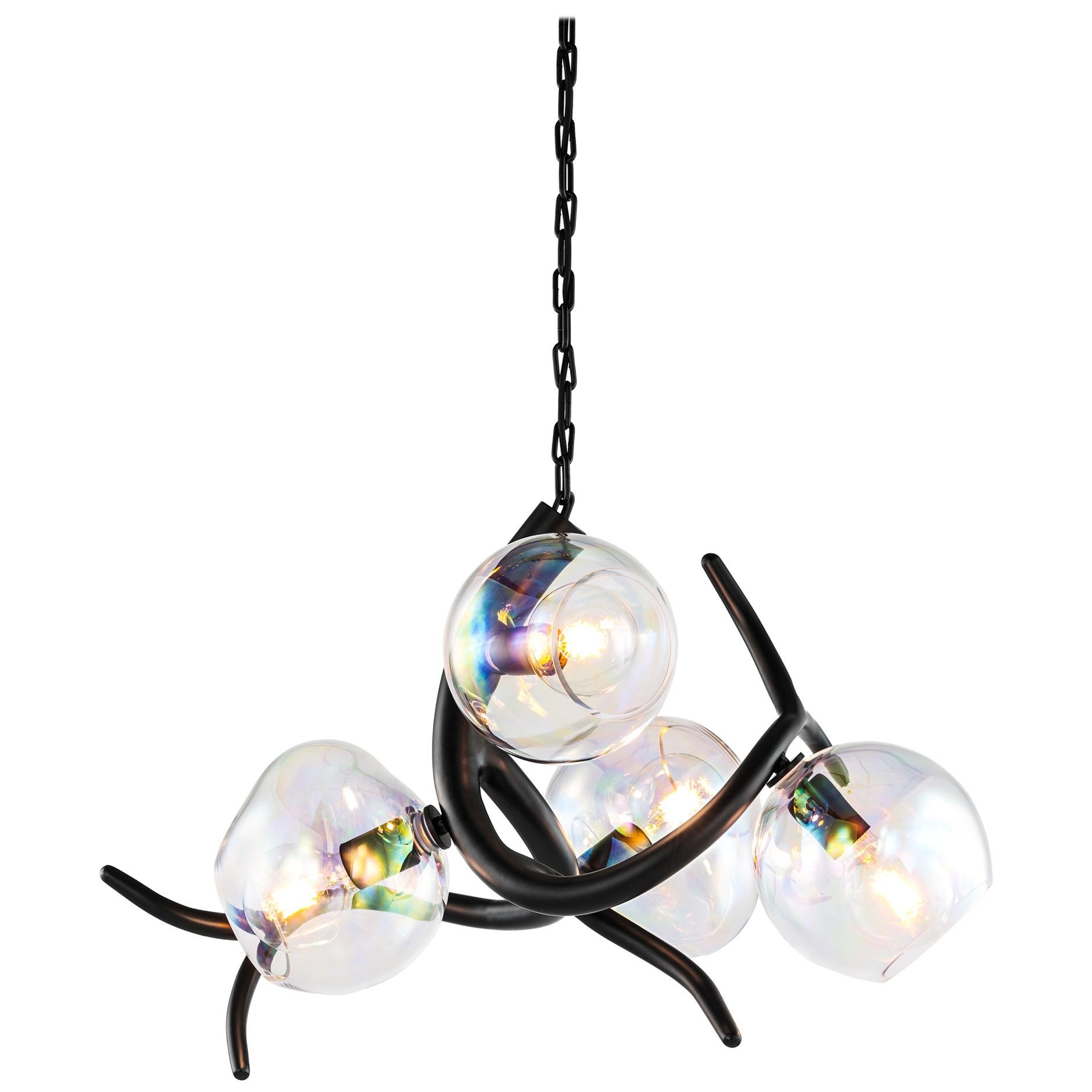 Modern Pendant with Colored Glass in a Black Matt Burnished Finish, Ersa