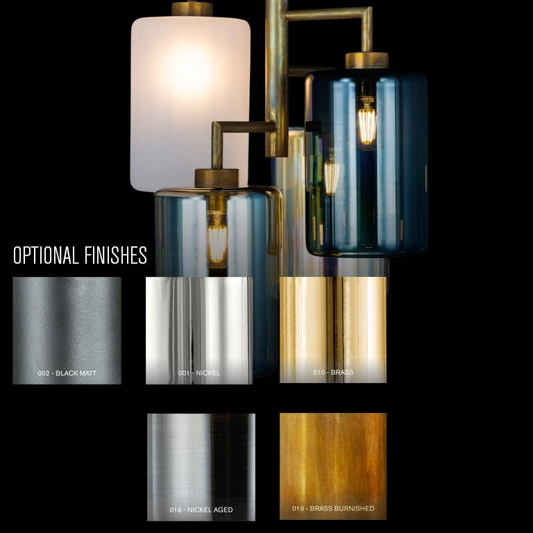 Dutch Modern Pendant with Colored Glass in a Brass Burnished Finish, Louise For Sale