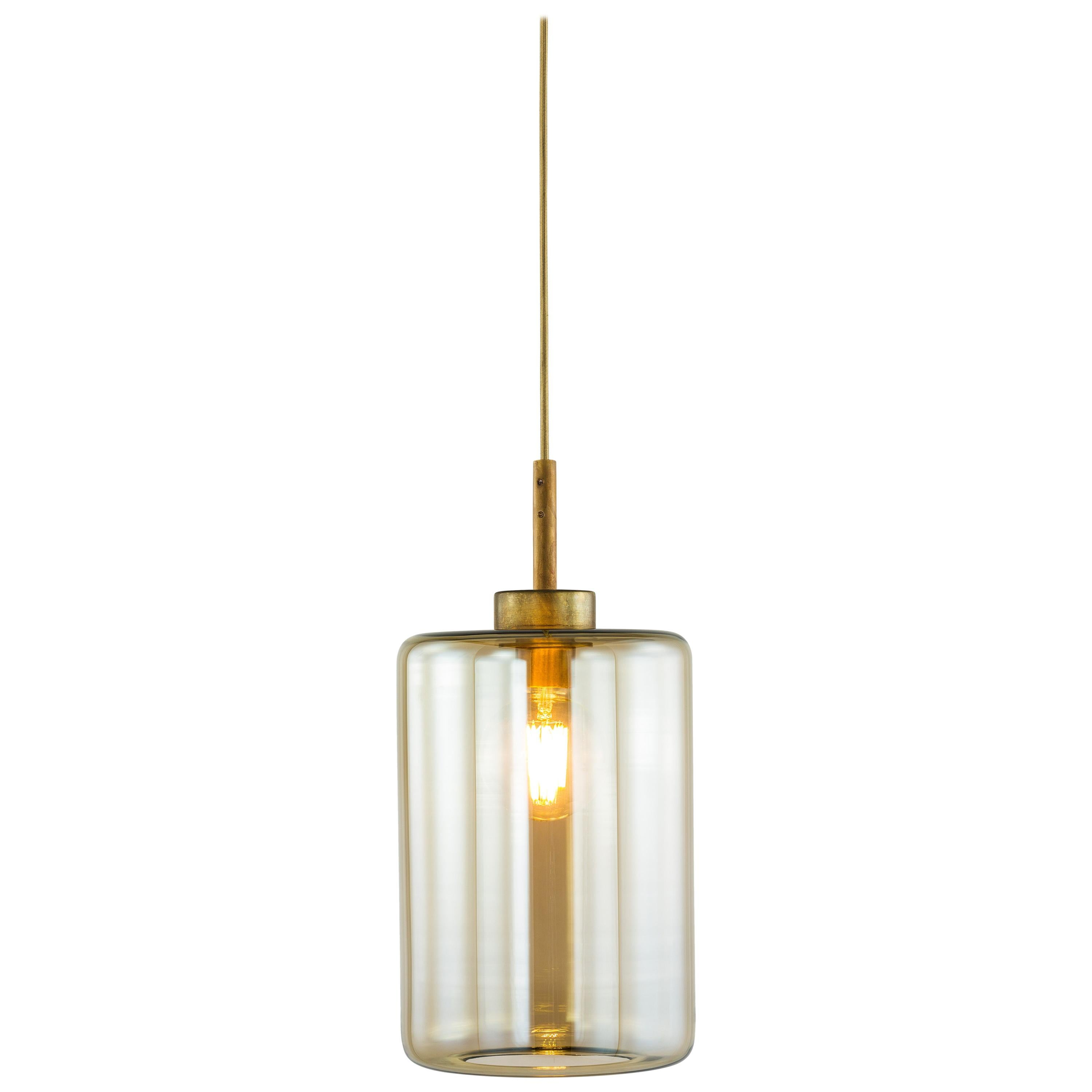 Modern Pendant with Colored Glass in a Brass Burnished Finish, Louise
