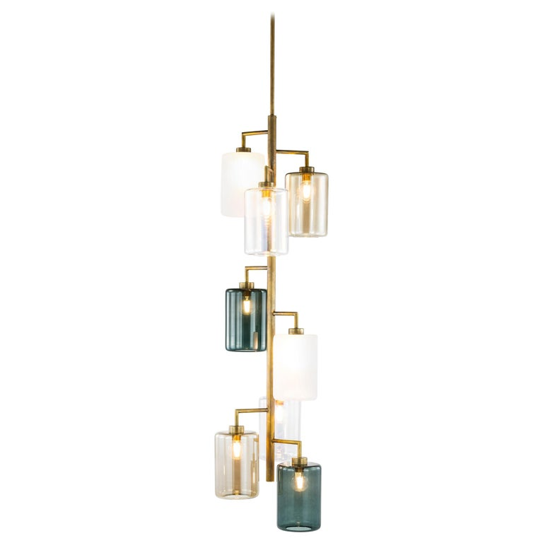 Modern Pendant with Colored Glass in a Brass Burnished Finish, Louise For Sale