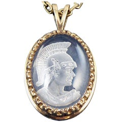 Modern Pendant, Yellow Gold Necklace, Intaglio Carved Crystal, Roman Head Design