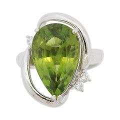 Modern Peridot Diamond Platinum Ring
