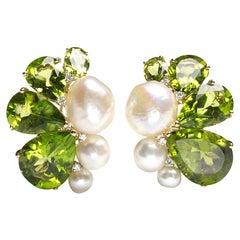 Modern Peridot Pearl Diamond and Gold Earrings