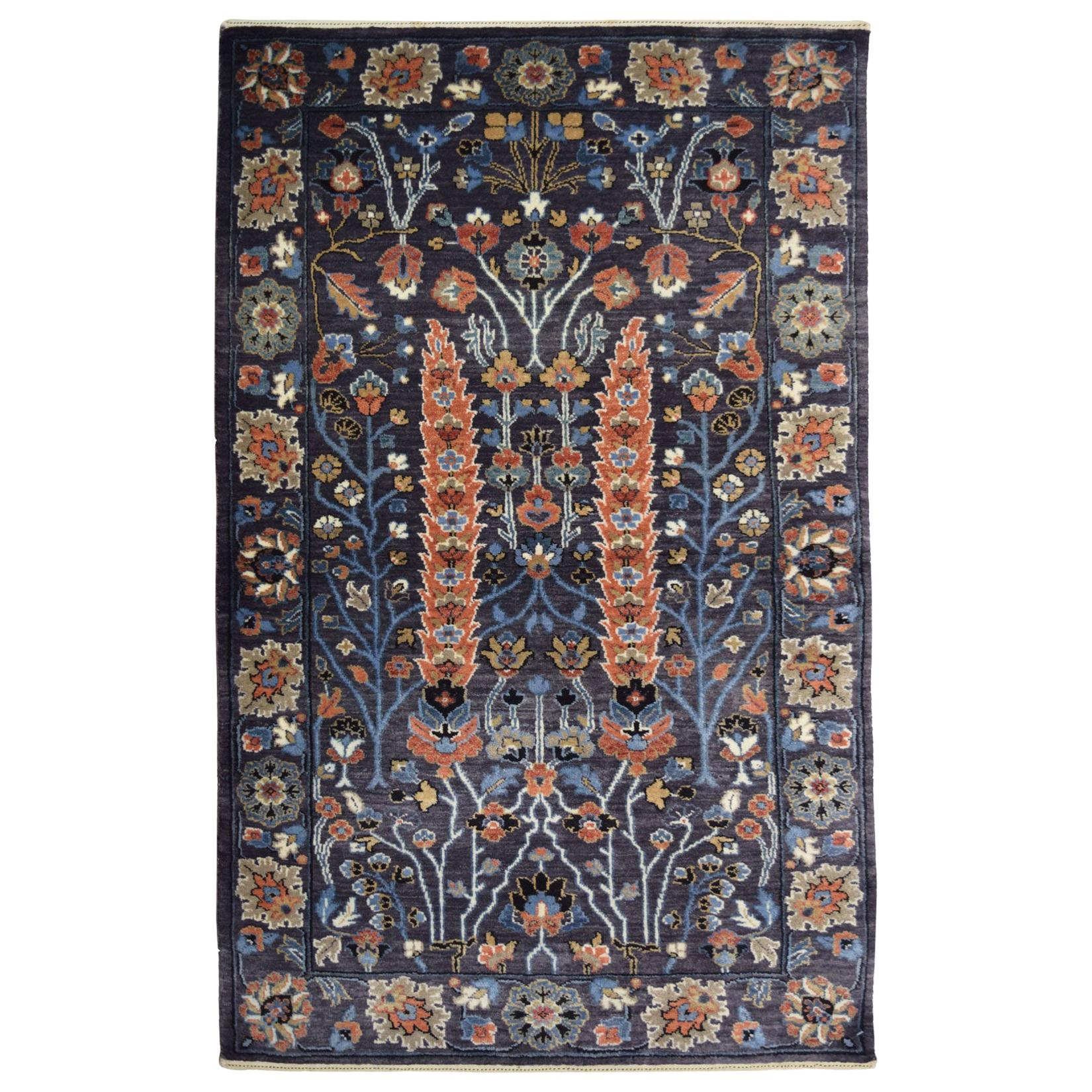 Modern Persian Inspired Bakshayesh Carpet in Blue, Orange, Cream, and Green Wool