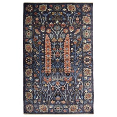 Modern Persian Inspired Bakshayesh Carpet in Blue, Orange, Cream, and Green Wool