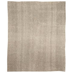 Modern Persian Beige and Gray Hand Knotted Wool Kilim Rug
