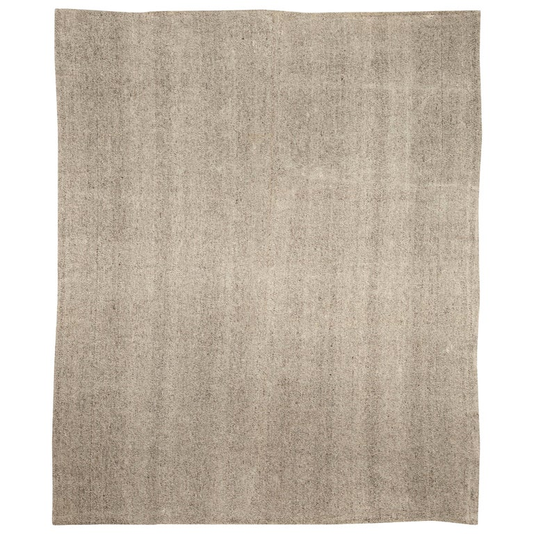 Modern Persian Beige and Gray Kilim Rug For Sale