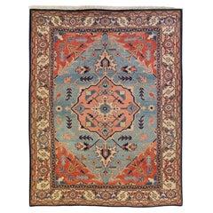 Modern Persian Heriz Handmade Medallion Blue and Rust Wool Rug