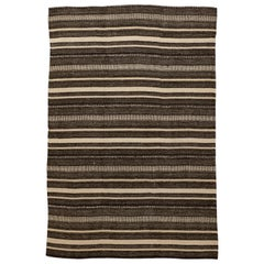 Modern Persian Kilim Rug with Black and Brown Stripes on Ivory Field