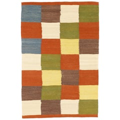 Modern Persian Kilim Style Rug with Colored Squares on Ivory Field