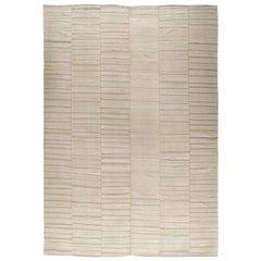 Modern Persian Mazandaran Handwoven Flat-Weave Natural Earth-Tone Rug