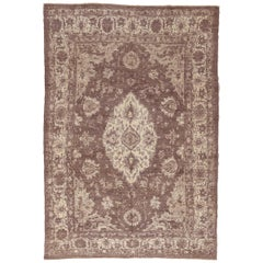 Modern Persian Rug Oushak Design with Large Ivory Medallion over Brown Field