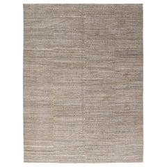 Modern Persian Shiraz Hand Knotted Rug in Natural, Beige and Grey Color