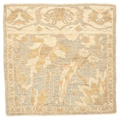 Modern Persian Sultanabad Rug with Gray and Brown Floral Details