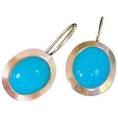 Modern Persian Turquoise 14 Karat Gold Pierced Earrings