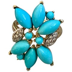 Modern Persian Turquoise and Diamond 14 Karat Yellow Gold Ring