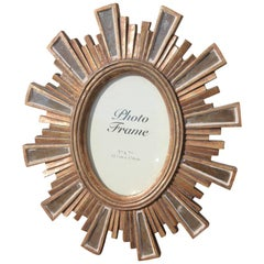 Modern Picture Frame in Resin with Silver and Gold Mirrors Style Louis XVI