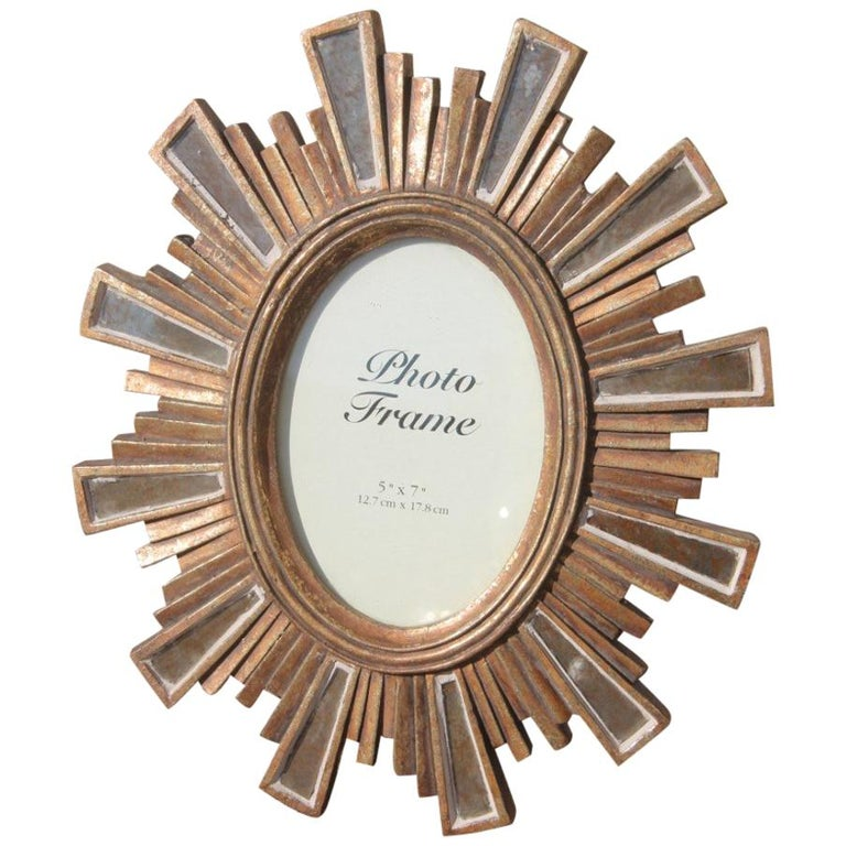 Modern Picture Frame in Resin with Silver and Gold Mirrors Style Louis XVI For Sale