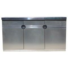Modern Pierre Cardin Brushed Aluminium and Chrome Flip Top Dry Bar
