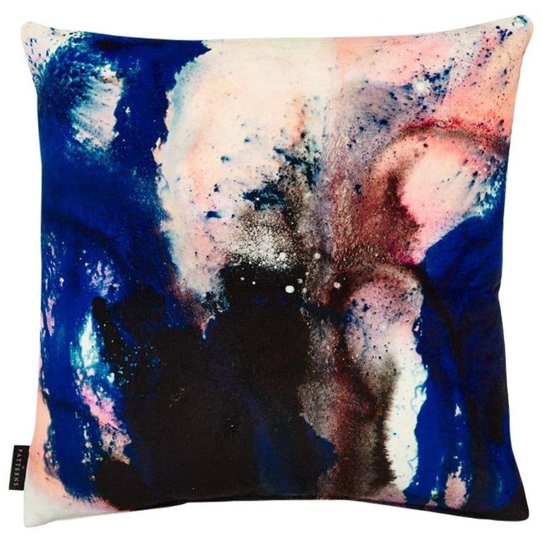 Modern Pink and Blue Cotton Velvet Cushion by 17 Patterns For Sale