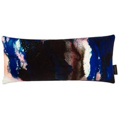 Modern Pink and Blue Cotton Velvet Lumbar Cushion by 17 Patterns