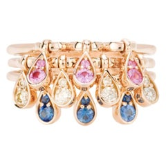 Modern Pink and Blue Sapphires and Cream Diamond Kinetic Teardrop Cocktail Ring