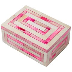 Modern Pink and White Striped Bone Inlay Decorative Box