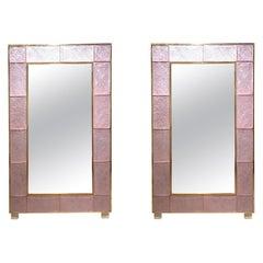 Modern Pink Murano Glass and Brass Mirrors