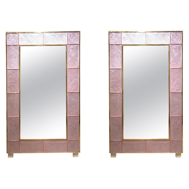 Modern Pink Murano Glass And Brass Mirrors For Sale At 1stdibs