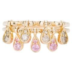 Modern Pink Sapphire and Cream Diamond Kinetic Teardrop Cocktail Ring