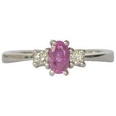 Modern Pink Sapphire and Diamond Platinum Three-Stone Ring