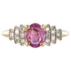 Modern Pink Sapphire Diamond Gold Platinum Ring