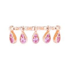 Modern Pink Sapphire Kenetic Teardrop Cocktail Ring