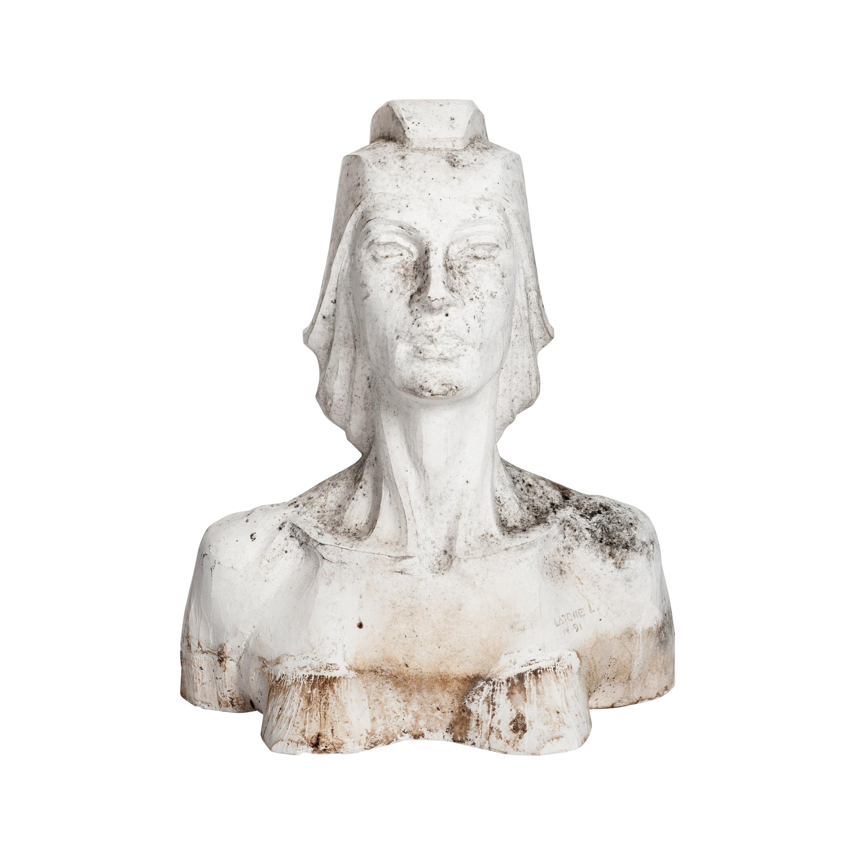 Modern Plaster Female Bust, Sculpture White Colored by Lucita Latorre, 1991