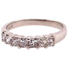 Modern Platinum Band 0.95 Carat Natural Colorless Princess Cut Diamond Band