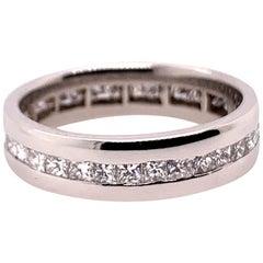 Modern Platinum Band 2 Carat Natural Princess Cut Colorless Diamond Engagement