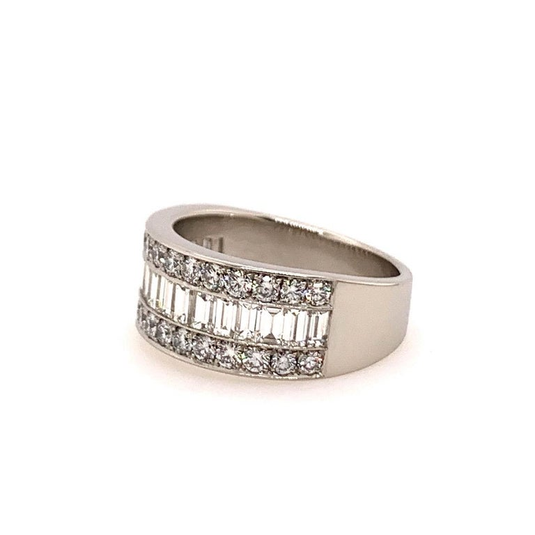 Baguette Cut Modern Platinum Band 3 Carat Natural Baguette & Round F VS Diamond Cocktail Ring For Sale