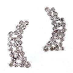 Modern Platinum Bezel Set of Diamond Ear Climber Earrings
