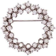 Modern Platinum Brooche 4.5 Carat Natural Round Collection Diamonds, circa 1980