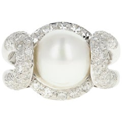 Modern Platinum Pearl and Diamond Ring
