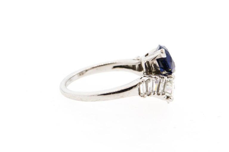 Modern Platinum Sapphire Diamond Bypass Ring For Sale 2